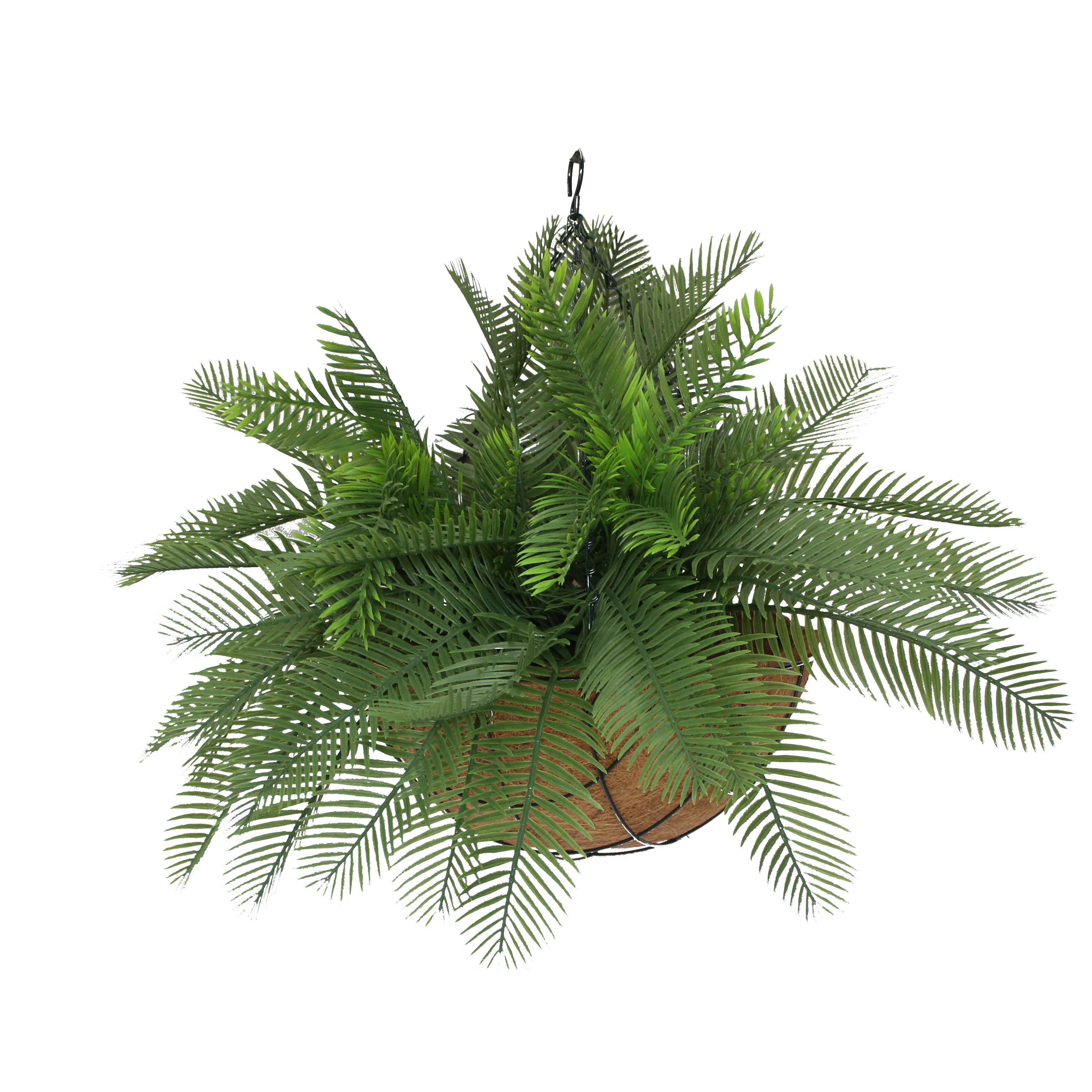 ARTIFICIAL DOUBLE CYCAD PALM 48CM IN HANGING BASKET
